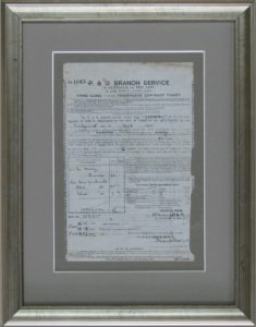 Custom framed ticket with preservation and conservation materials