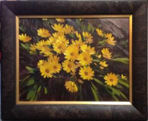 Custom framed oil painting flowers